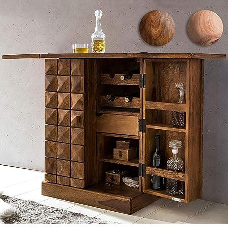 Riddhi Siddhi Home Decor Sheesham Wood Stylish Bar Cabinet for Living Room with Wine Glass Storage| Teak Finish