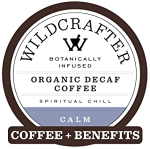 Wildcrafter Botanicals Organic Decaf Coffee K Cups - Stress & Anxiety Relief with Holy Basil Leaf, Chamomile & Passionflower Blend. 12 Calming Dark Roast Pods - Works with K-Cup Brewers & Keurig 2.0