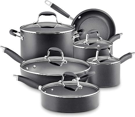 Amazon Com Anolon Advanced Hard Anodized Nonstick Cookware Pots And Pans Set 11 Piece Graphite Kitchen Dining