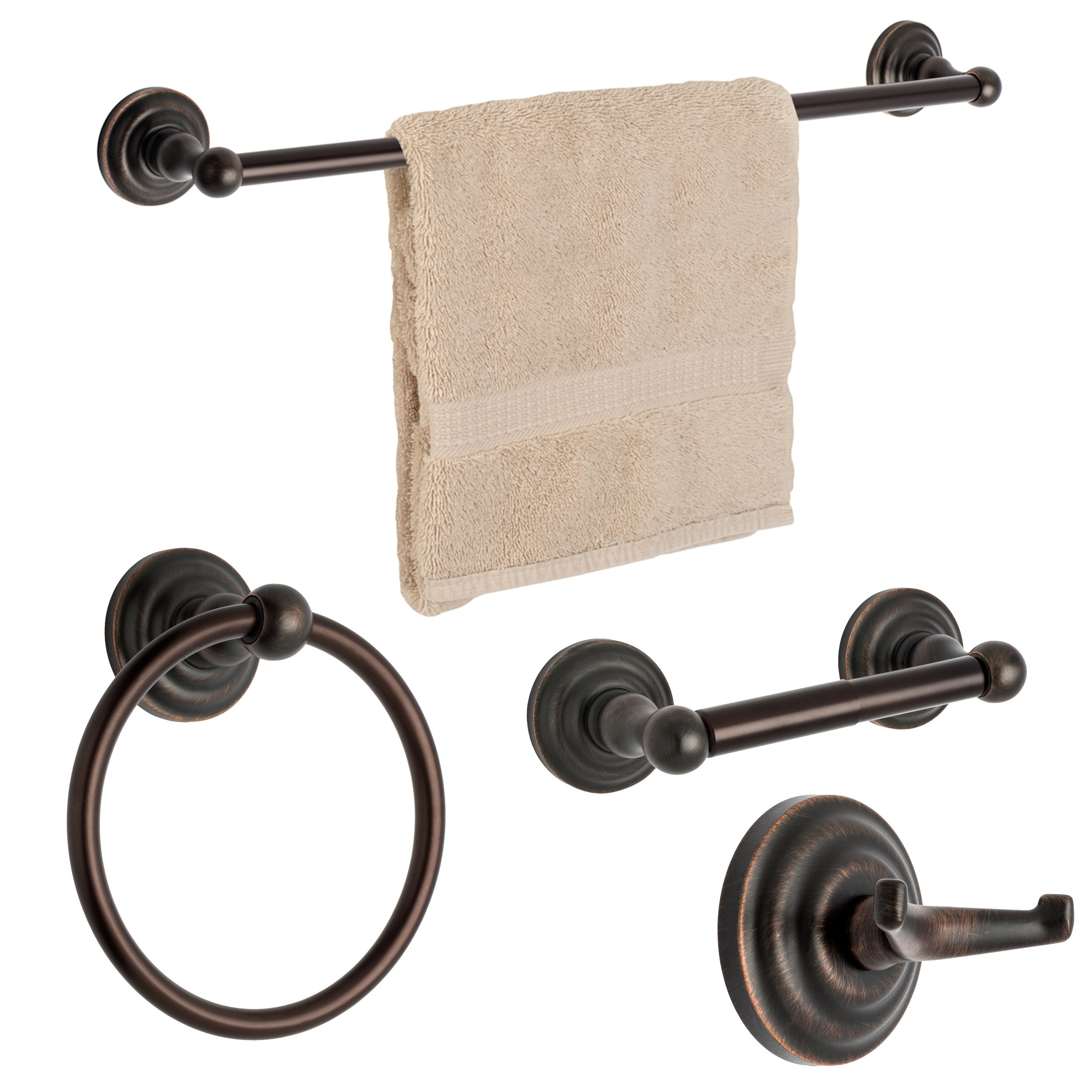 Dynasty Hardware 3800-ORB-4PC Palisades Series Bathroom Hardware Set, Oil Rubbed Bronze, 4-Piece Set, With 24'' Towel Bar