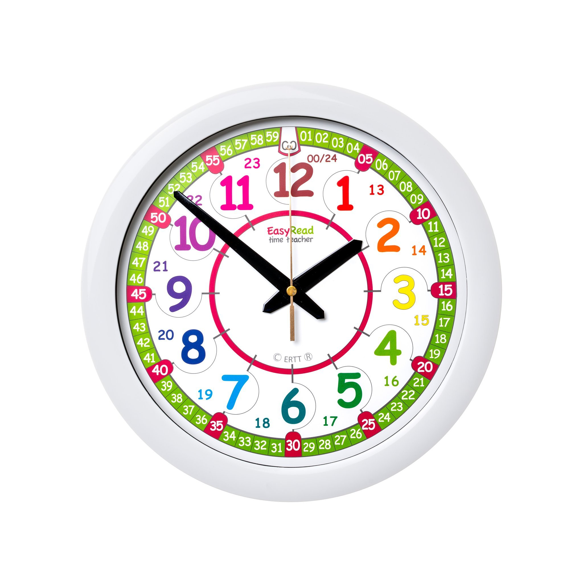 EasyRead Time Teacher Children's Wall Clock, 12 & 24 Hour with silent movement. Learn to tell the time in 2 simple steps, for children age 5-12. by EasyRead Time Teacher