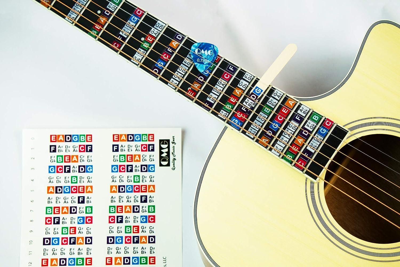 Pegatinas para tabla de trastes de guitarra, calcomanías de notas, paquete de 2, fabricado en Estados Unidos