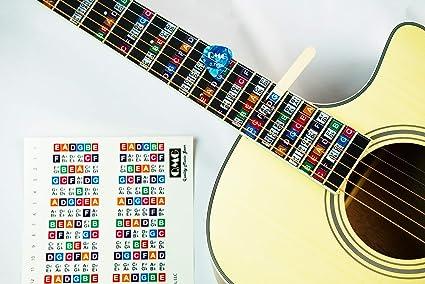 Pegatinas de diapasón de guitarra codificadas por colores, aprender a tocar guitarra y teoría de la música, apto para todos los niveles, dos juegos de pegatinas, fabricado en Estados Unidos: Amazon.es: Instrumentos
