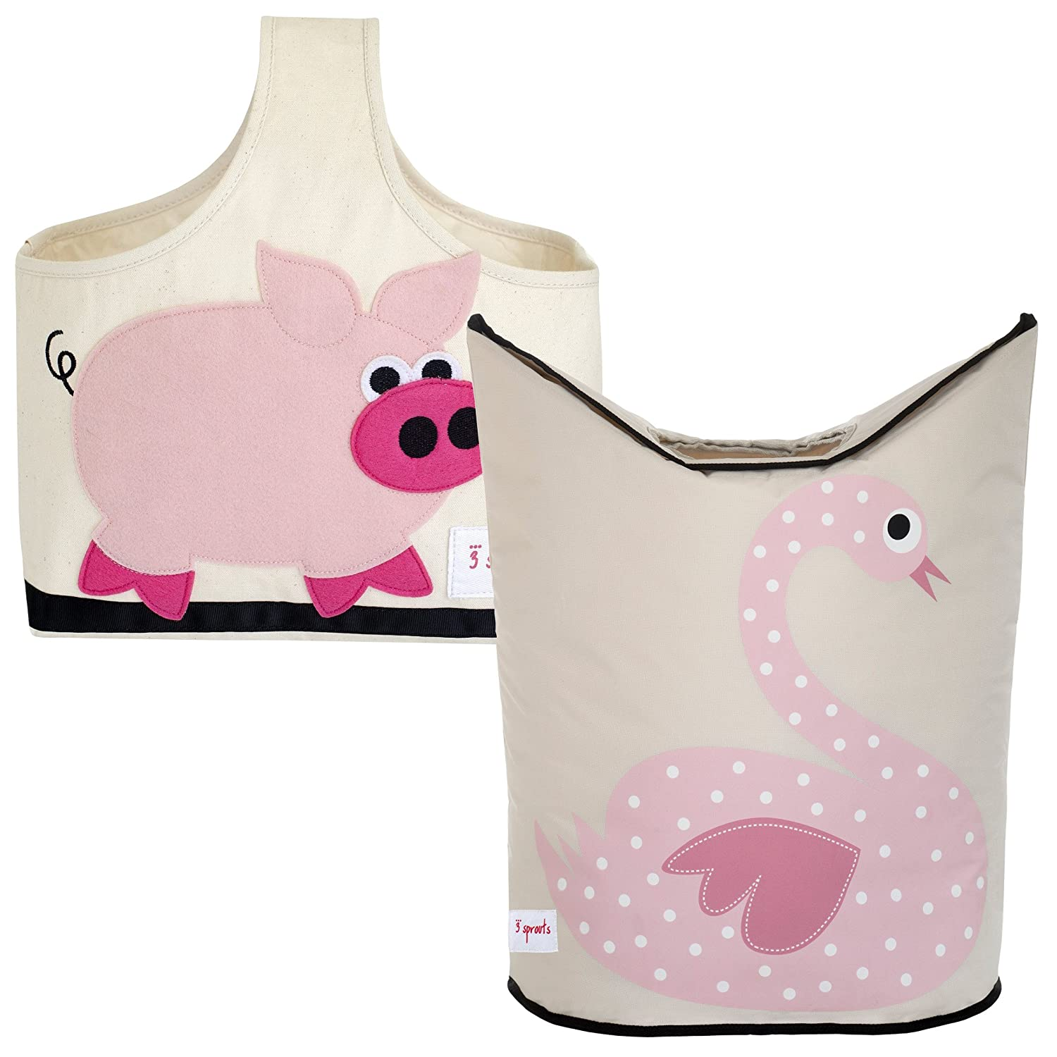 3 Sprouts Storage Caddy and Laundry Hamper, Pig/Swan