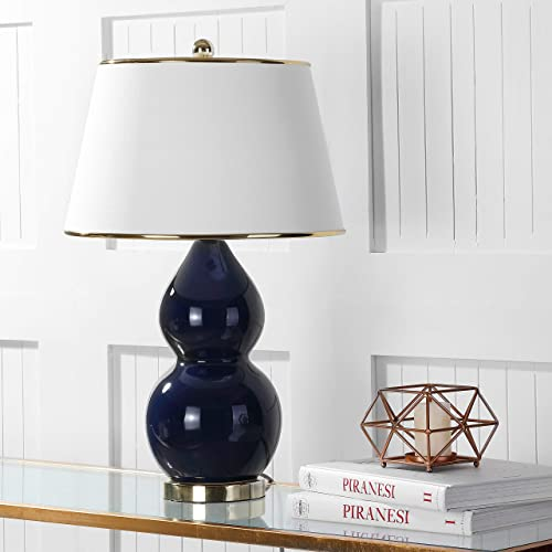 Safavieh Lighting Collection Jill Navy Double Gourd Ceramic 26.5-inch Table Lamp