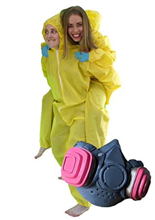 Adult Breaking Bad Hazmet Costume Yellow Chemical Walter White Suit Fancy Dress