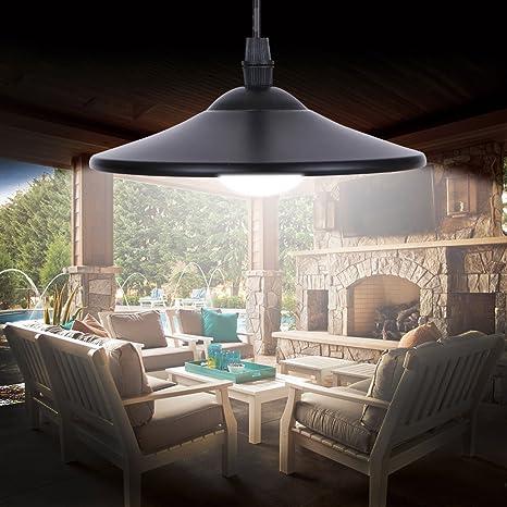 Solalite Lámpara de techo con energía solar para exteriores, lámpara colgante de cobertizo con mando