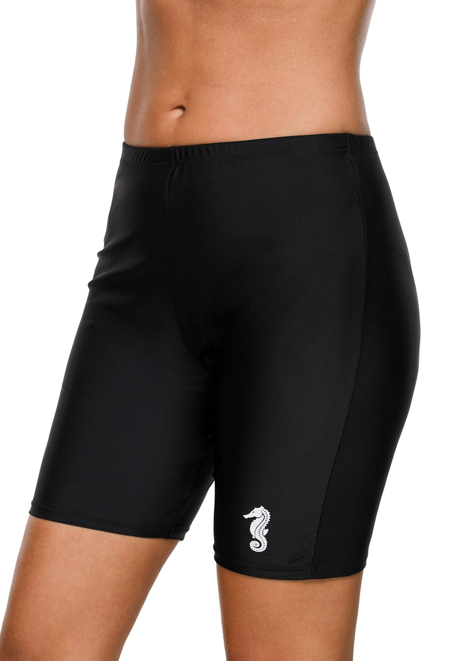 eulo Women's Boyleg Swim Shorts Seahorse Print Long Board Short Solid Beach Bottom Black L