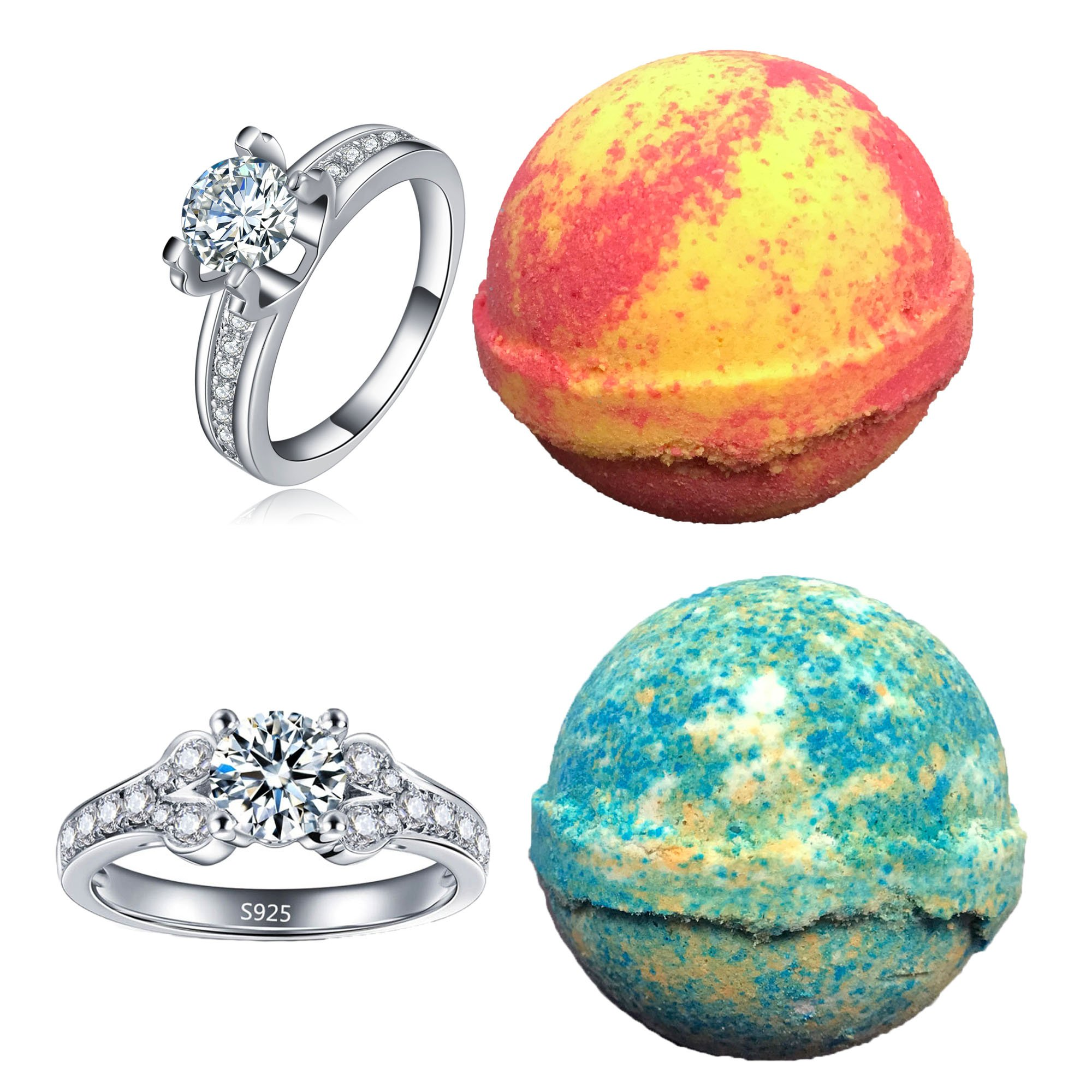 Amazon Com Bath Bomb Set 2 With A Surprise Ring Inside