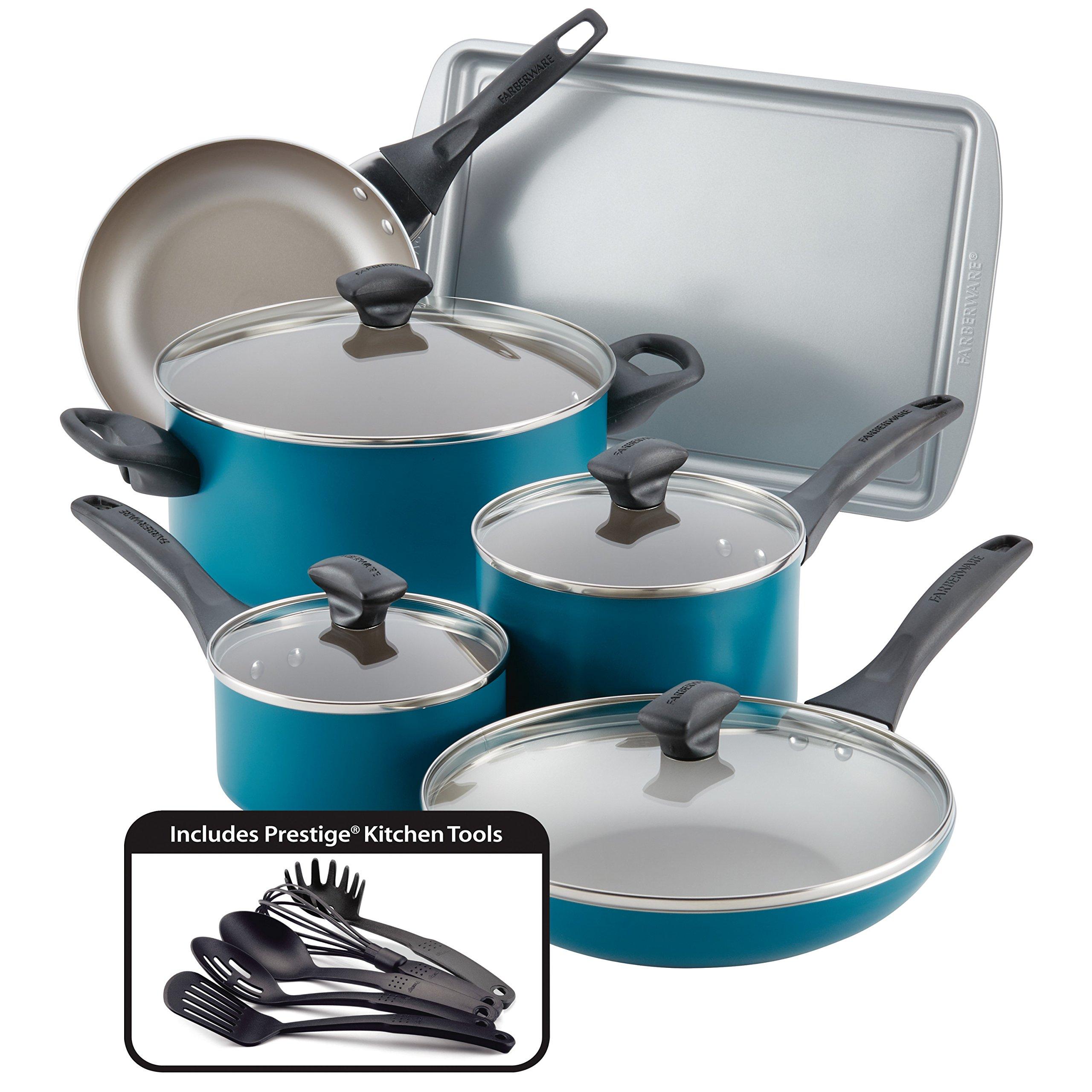 Farberware 20361 Nonstick Cookware Set, Large, Teal