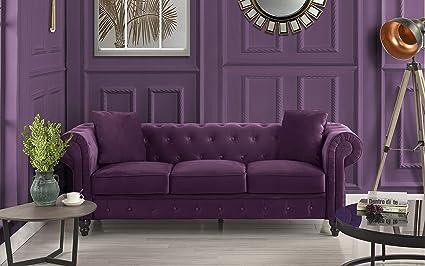 Amazon Com Divano Roma Furniture Classic Velvet Scroll Arm Tufted