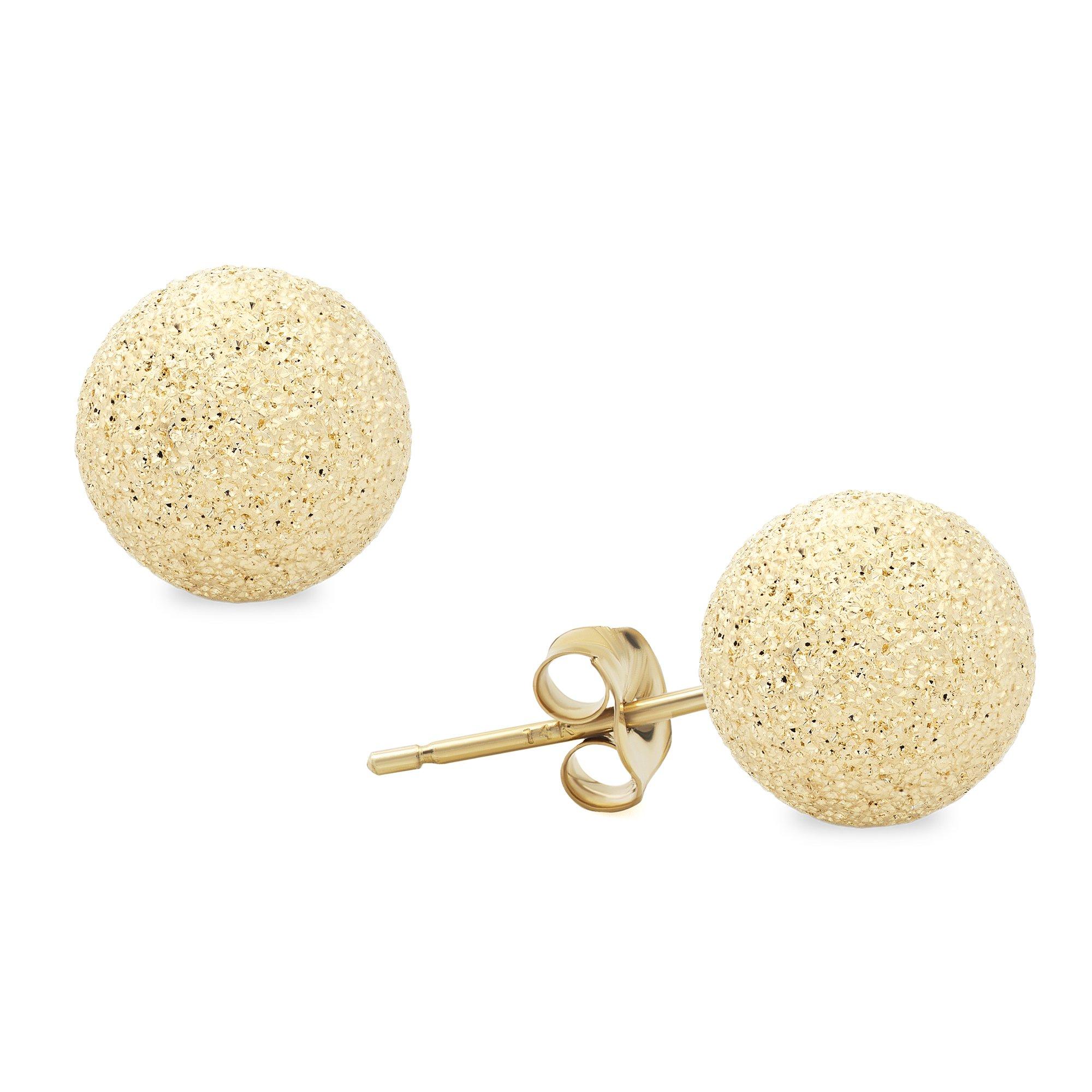 14K Yellow Gold StarDust Ball Studs Earrings (7 Millimeters)