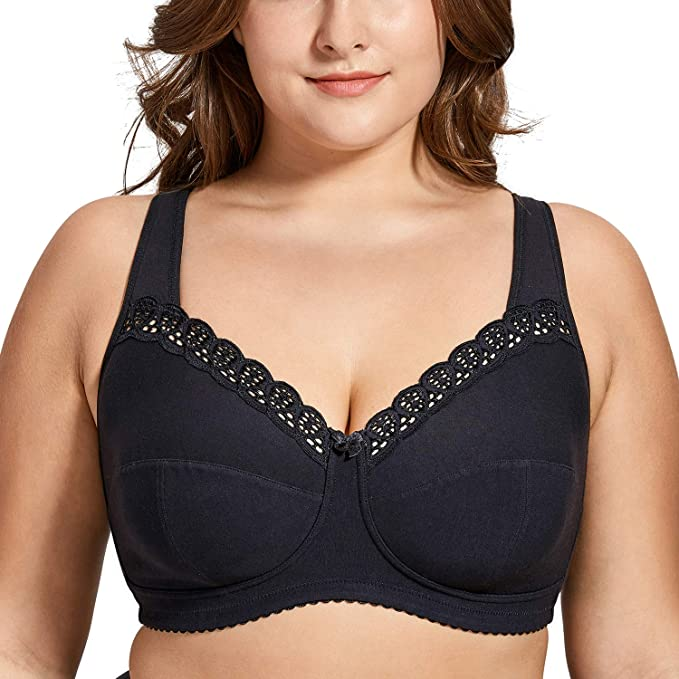 e8fbb79ab75 DELIMIRA Women s Full Coverage Lace Plus Size Wireless Non Padded Cotton  Bra Black 34H