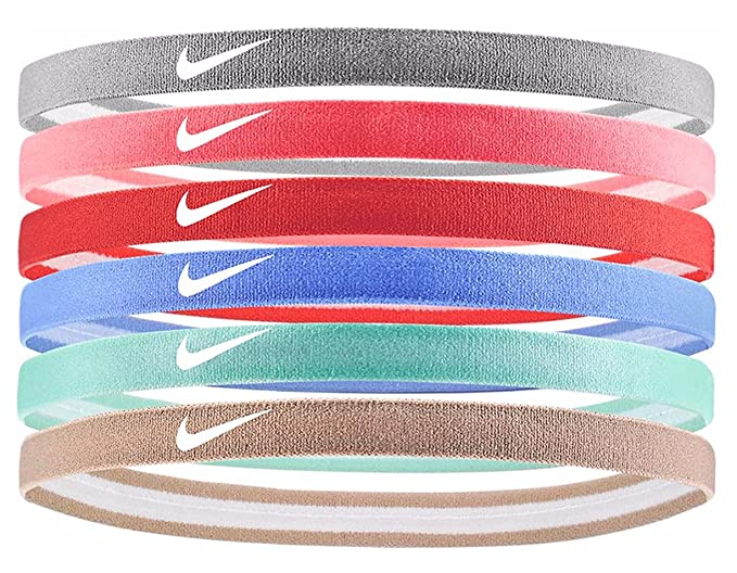 NIKE Swoosh Sport Headbands 6pk (Atmosphere Grey Atomic Pink Rush Coral) 3581fed1e72