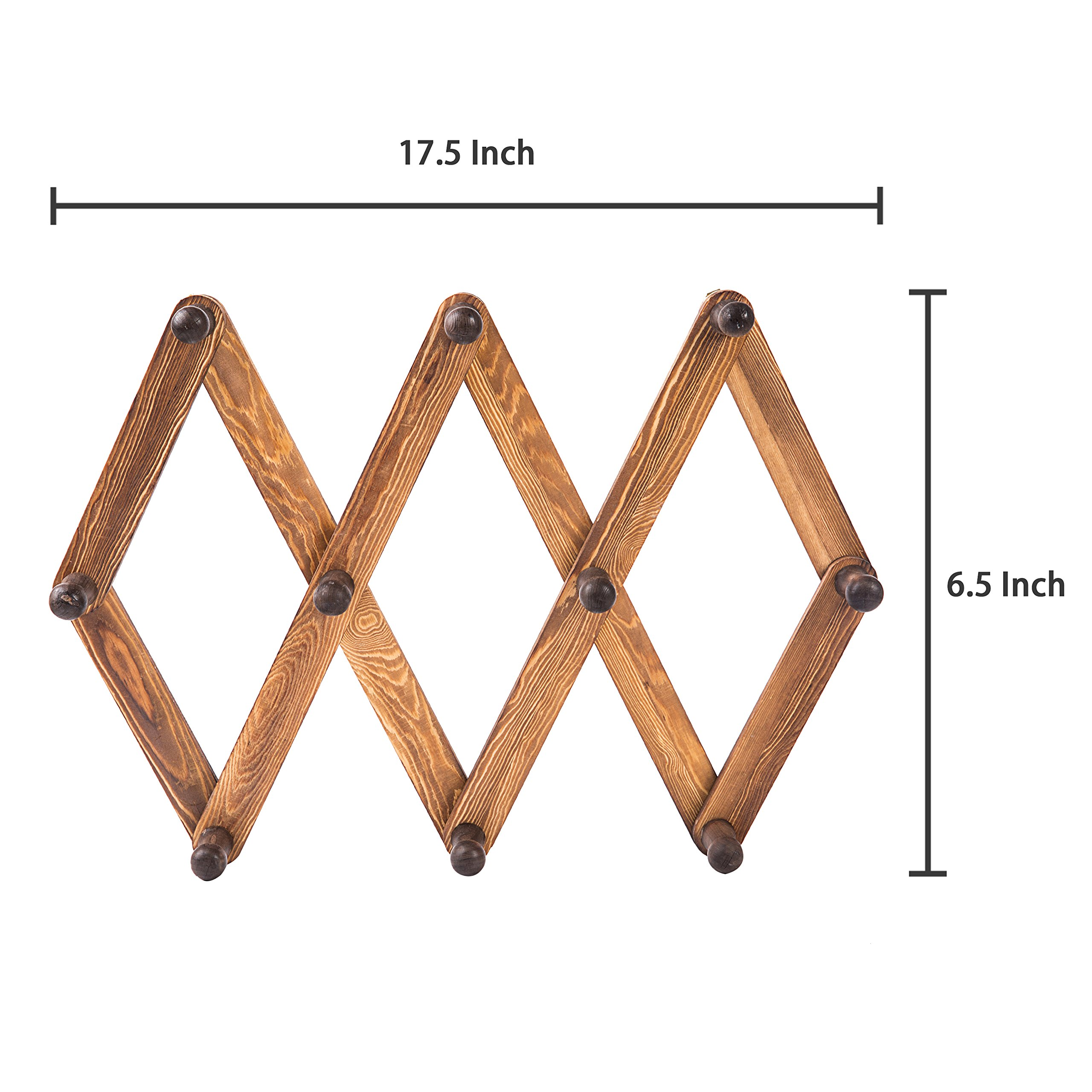 MyGift 10 Hook Torched Wood Wall Mounted Expandable Accordion Peg Coat Rack Hanger by MyGift (Image #7)