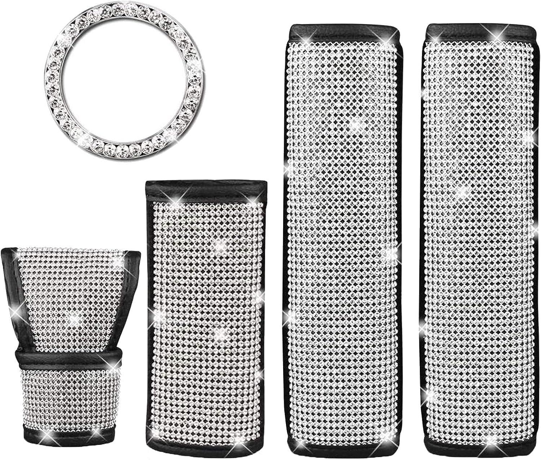 5 Stück Autozubehör Für Damen Crystal Diamond Auto Sicherheitsgurt Schaltknauf Schutz Gangabdeckung Dekor Zubehör Für Frauen Auto
