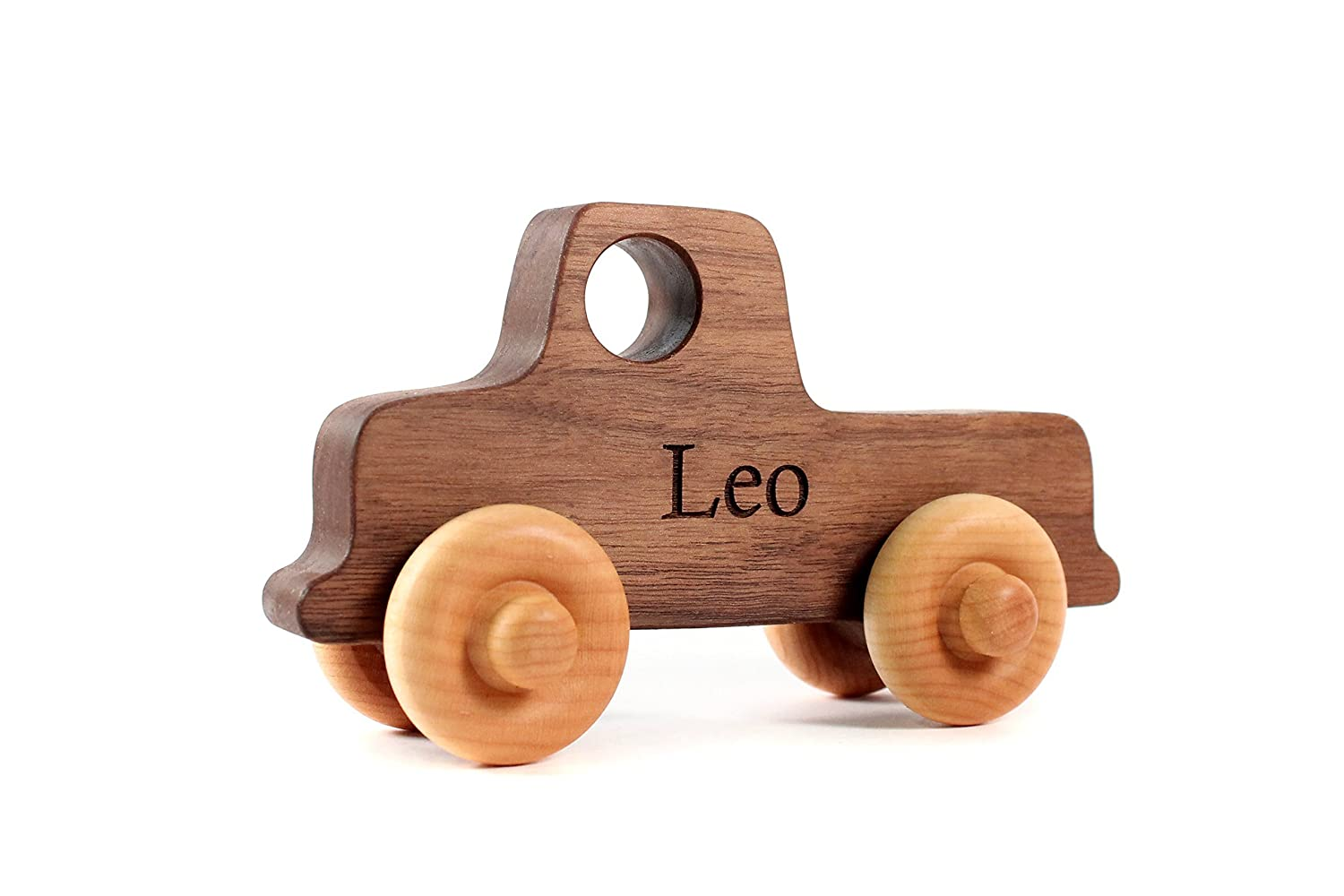OLD-SCHOOL TRUCK - a natural and eco-friendly wooden toy car made with sustainable hardwood - toddler or preschooler toy