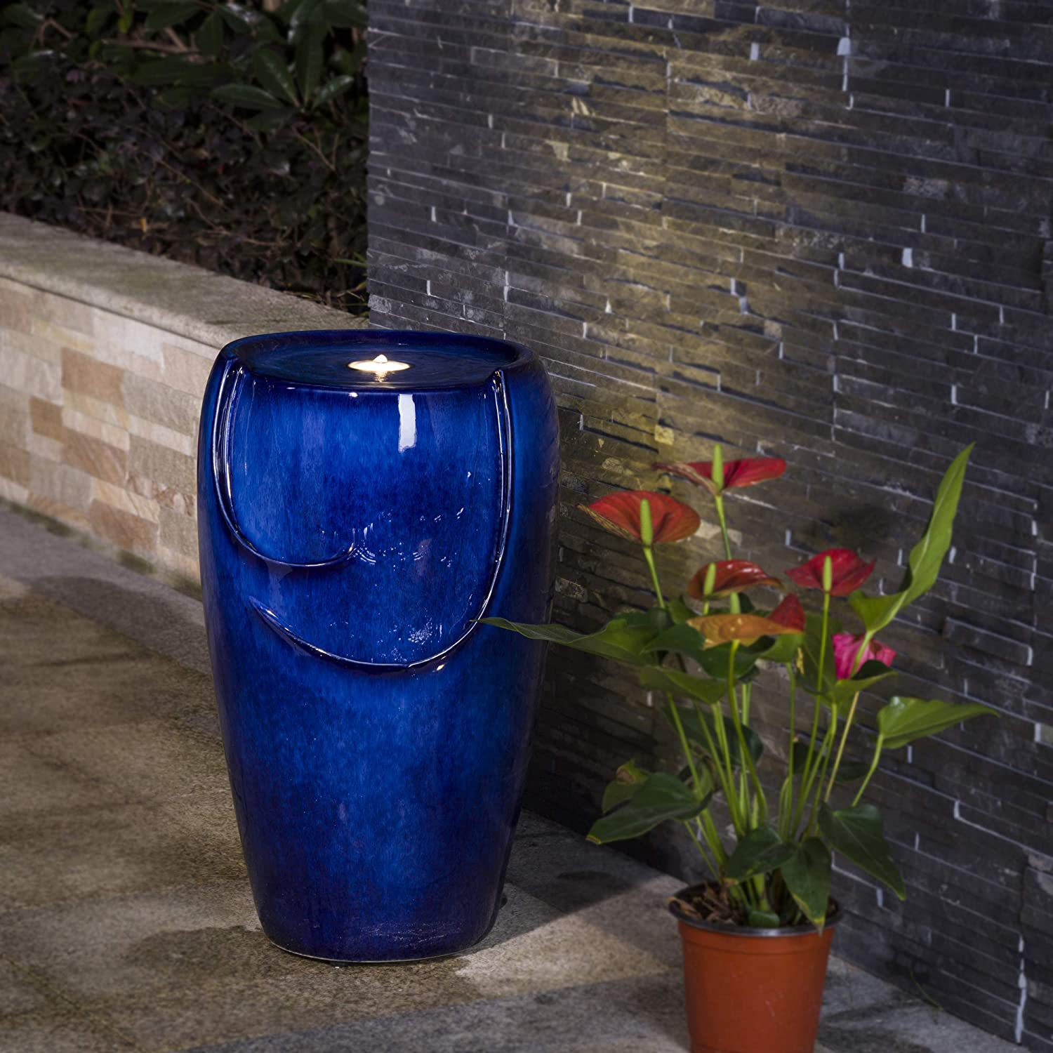 """Glitzhome Blue Ceramic Outdoor Water Fountain with LED Light and Submersible Pump 20.5""""H Decorative Water Fountain for Garden Patio Deck Porch Yard Art Decor"""