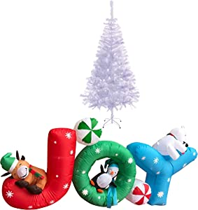 ALEKO CTB035 Holiday Décor Bundle - Inflatable Joy Holiday Greeting with UL Certified Blower and Premium White Christmas Tree - 6 Foot/6 Foot