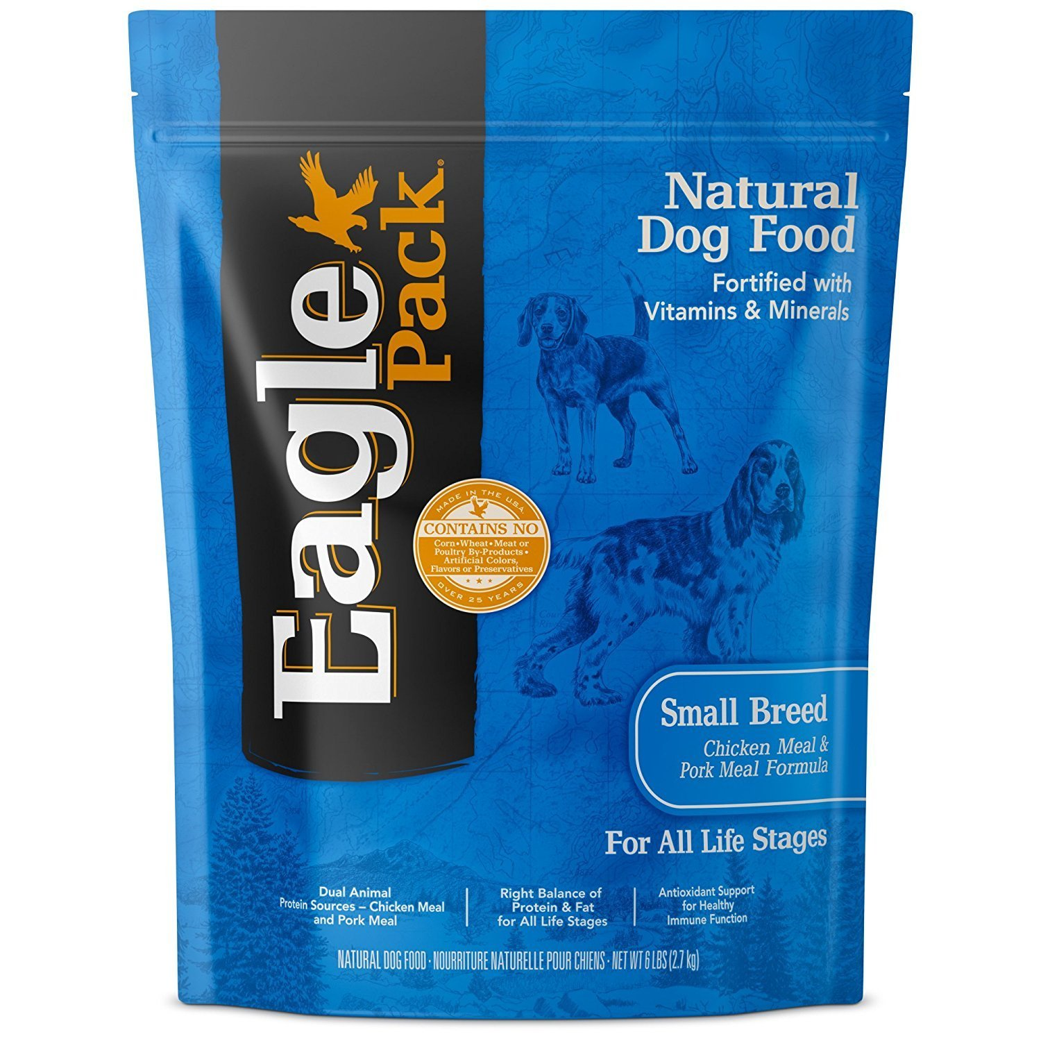 Eagle Pack Natural Pet Food, Original Adult Pork Meal and Chicken Meal Small Breed Formula for Dogs, 15-Pound Bag