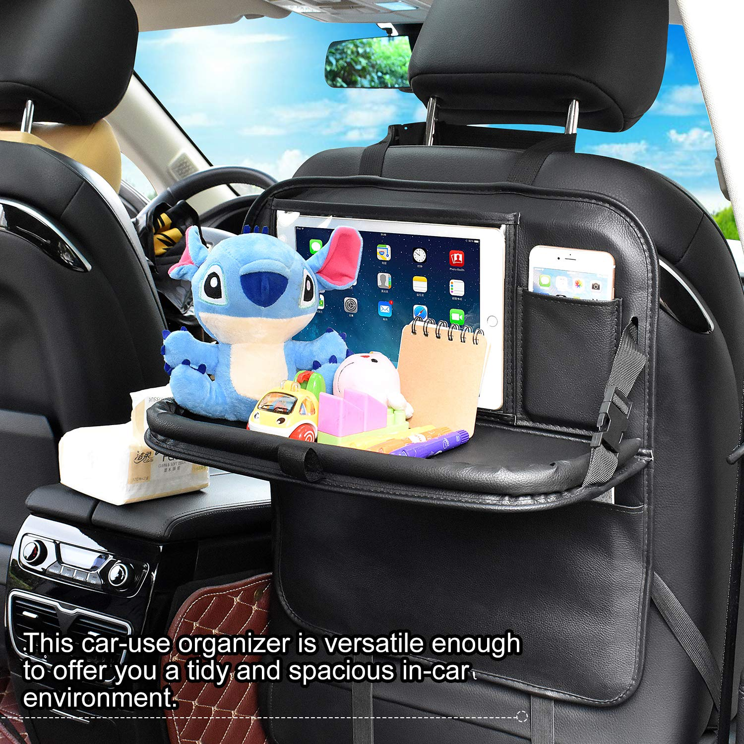 Car Seat Protector Multi-pockets Car Back Seat Organizer Kick Mats with Foldable Table Car Seat Organiser 1 Pack-Brown Temfly Car Organiser with Tablet Holder Back Seat Car Organiser for Kids Baby