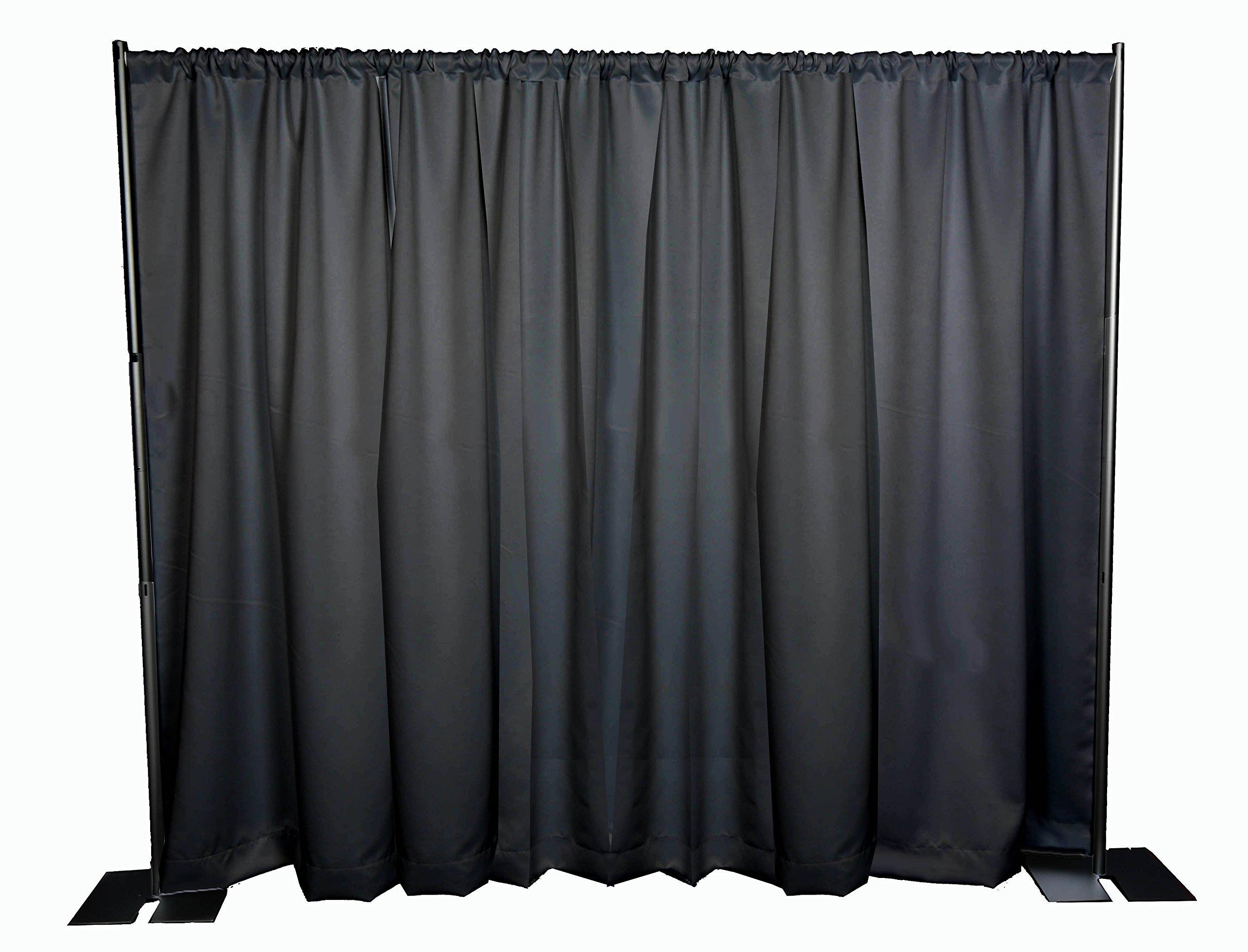 OnlineEEI Black Powdercoat Portable Pipe and Drape Backdrop Kit, Black Drapes