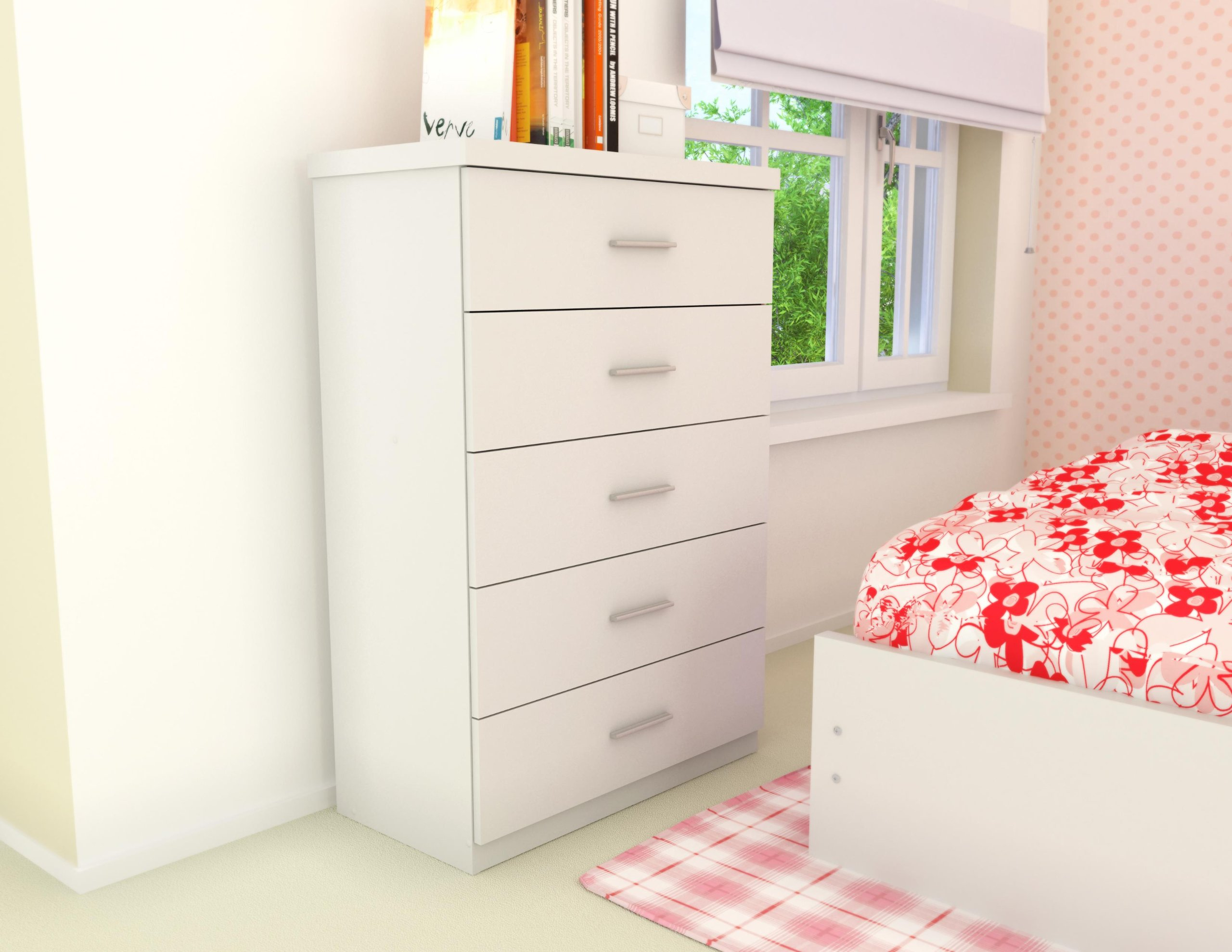 Sonax T-011-LWB Willow 5-Drawer Chest, Frost White