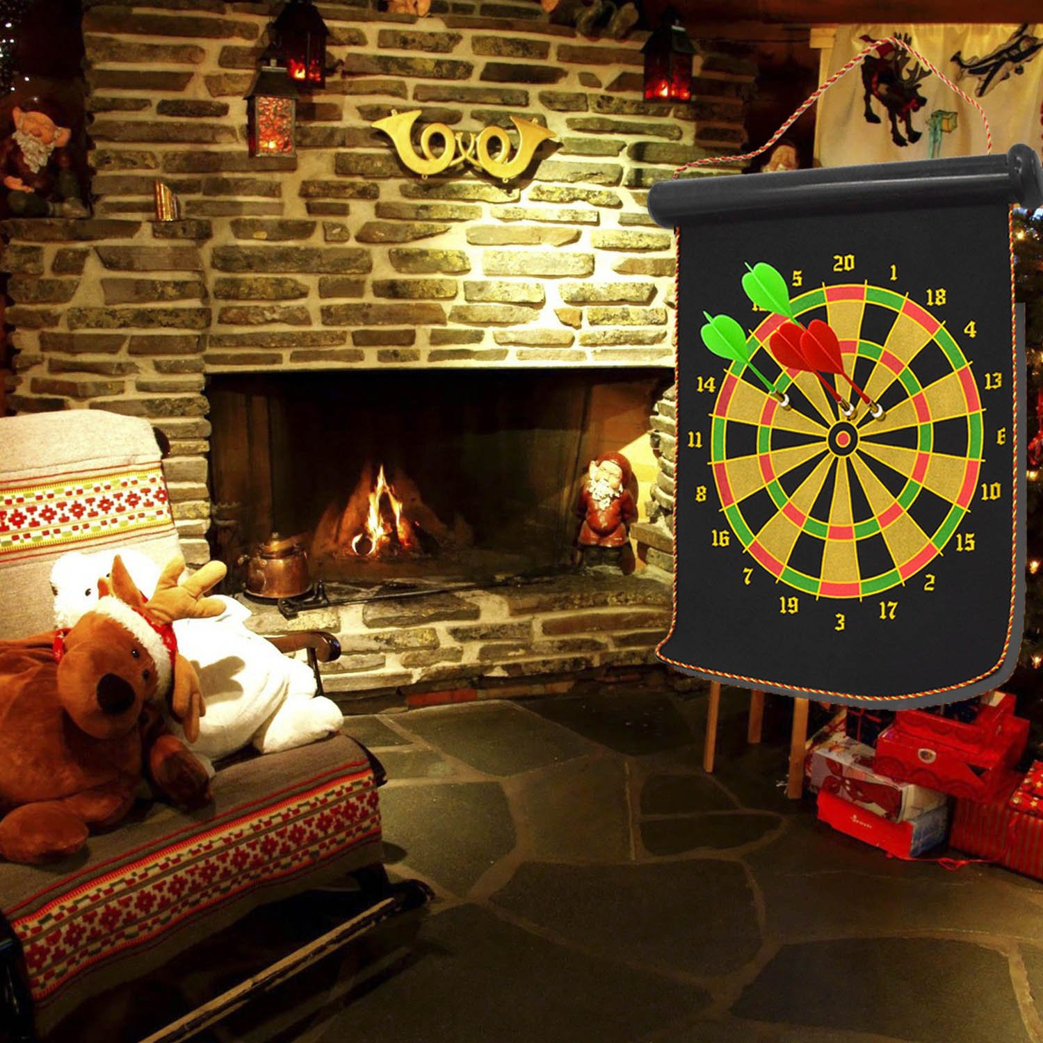 Kangkang@ Portable Double-faced Magnetic Hanging Dart Shot Dart Board Shot Game Toy Set for Bar Pub Home Party with 4 Dart by Kangkang