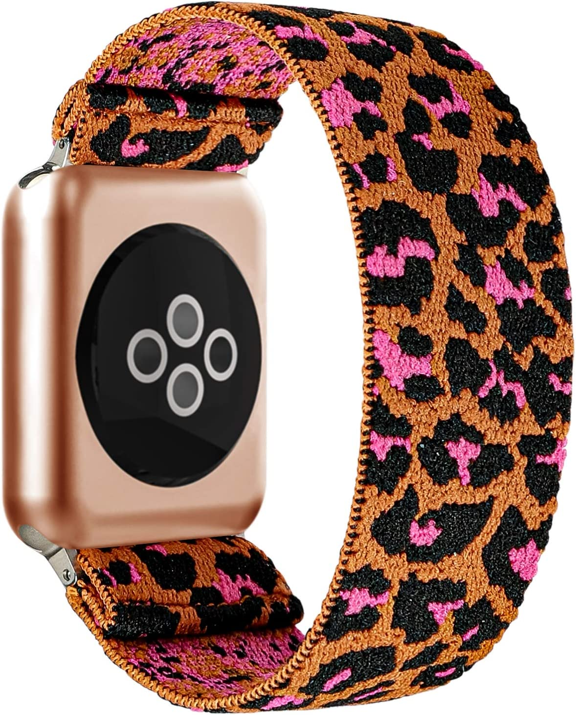 BMBEAR Stretchy Strap Loop Compatible with Apple Watch Band 38mm 40mm iWatch Series 6/5/4/3/2/1 Brown Leopard