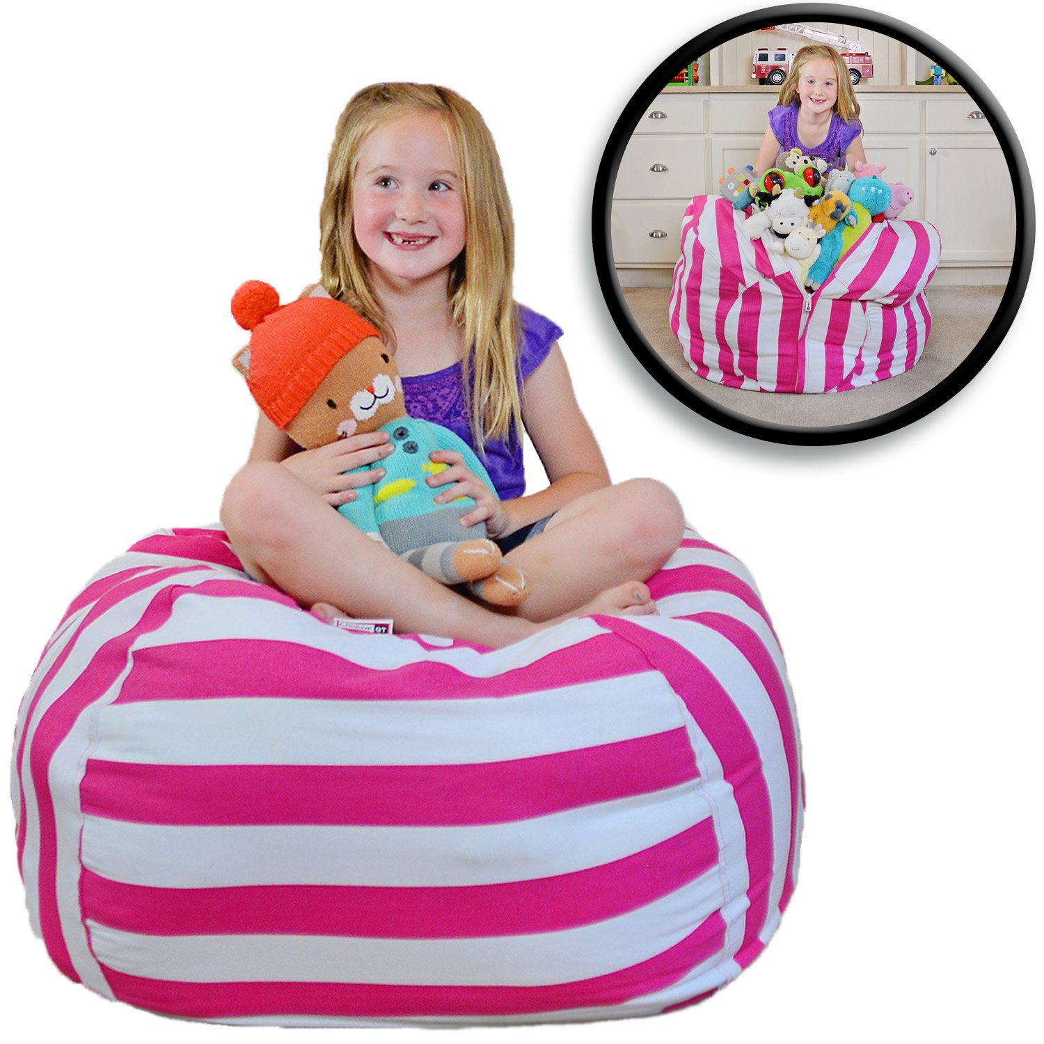 "Extra Large - Stuffed Animal Storage Bean Bag Chair - Premium Cotton Canvas - Clean Up The Room And Put Those Critters To Work For You! - By Creative Qt (38"", Pink Stripe)"