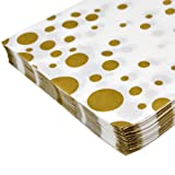 100 White Decorative Gold Dots Paper Luncheon