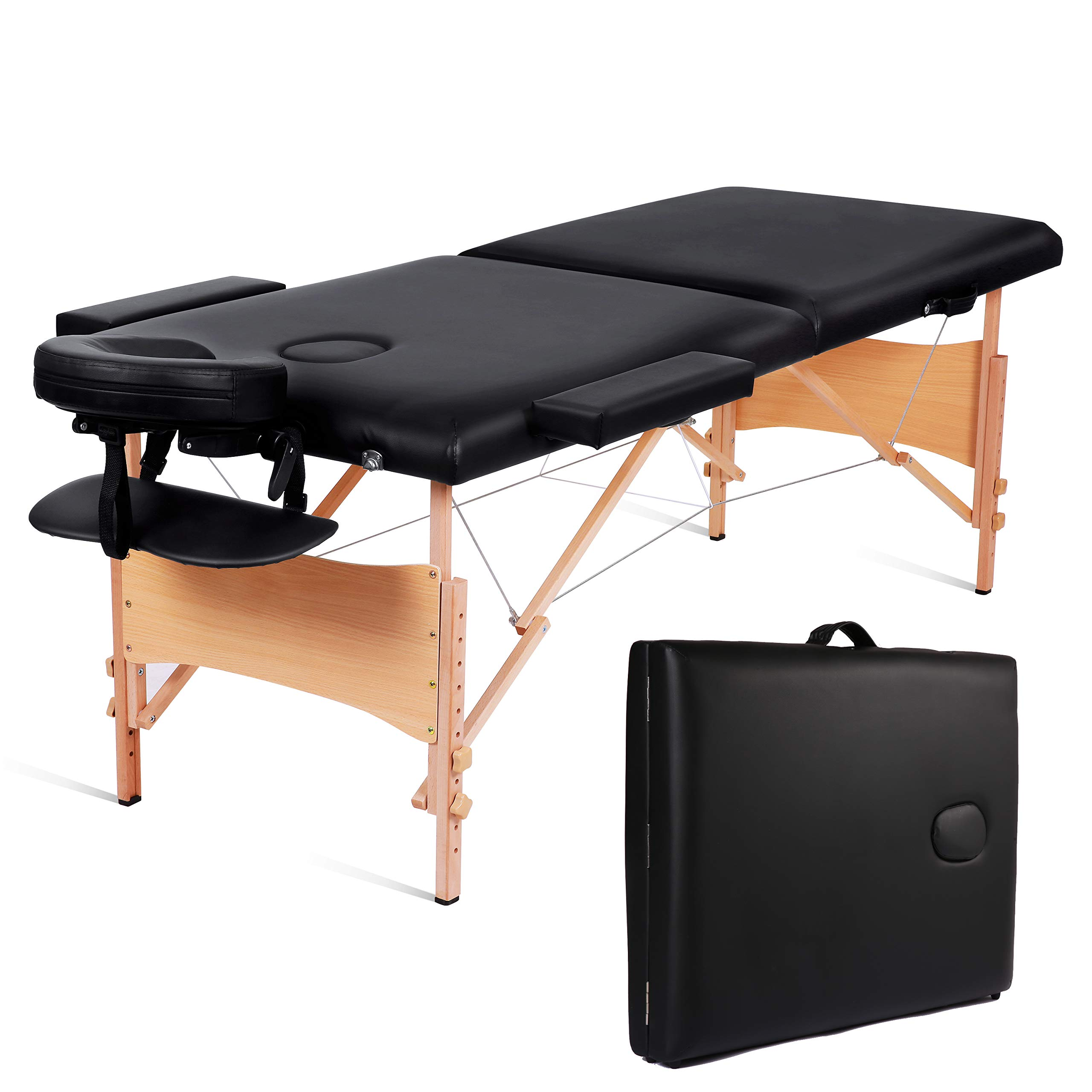 MaxKare Folding Massage Table Portable Facial SPA Professional Massage Bed With Carrying Bag 2 Fold Lash Bed with Head-& Armrest. (Black) by MaxKare