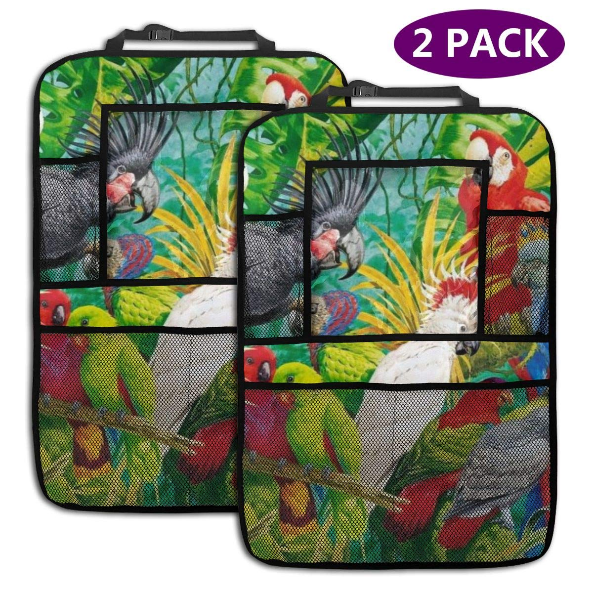 QF6FEICHAN Parrots in The Woods Car Seat Back Protectors with Storage Pockets Kick Mats Accessories for Kids and Toddlers by QF6FEICHAN