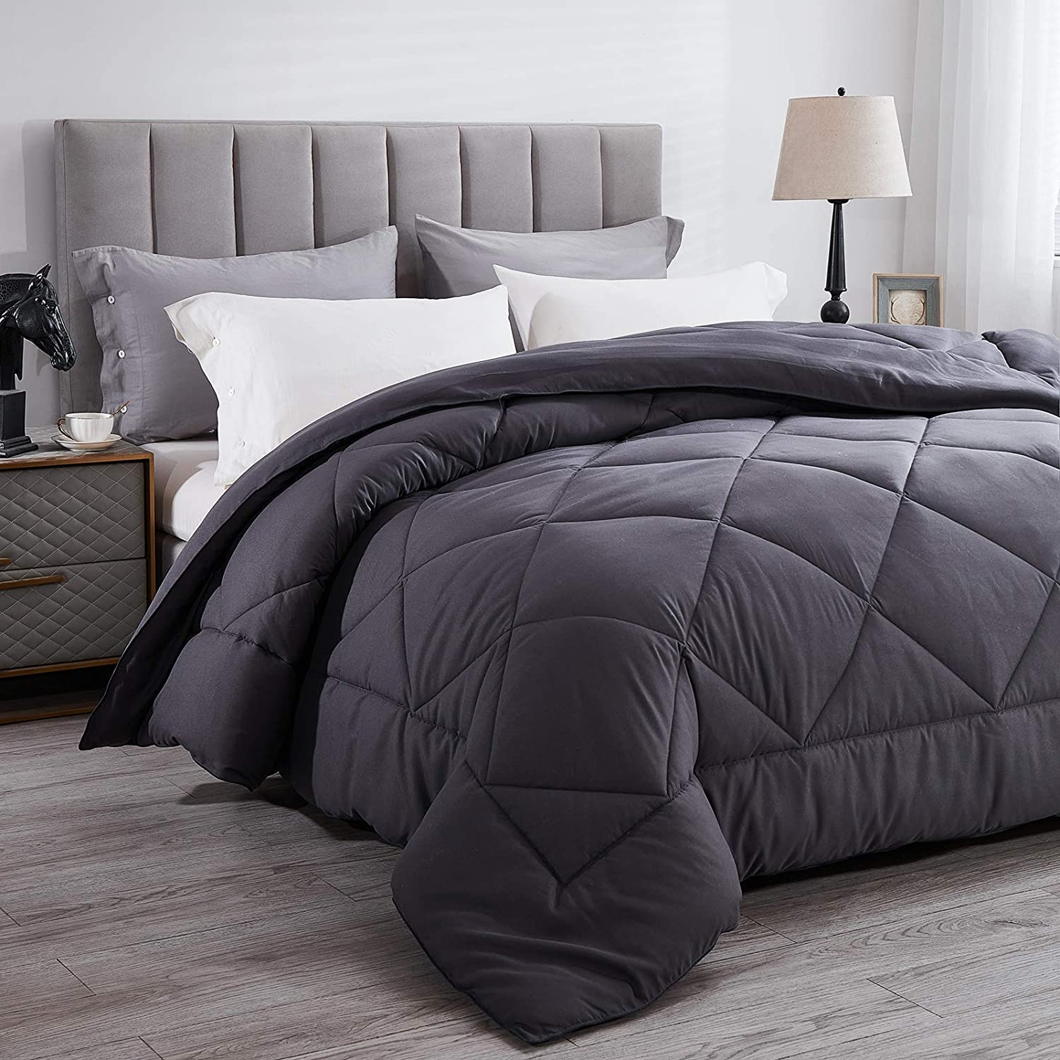 Wamsound All-Season Queen Down Alternative Quilted Comforter,Comfortable Sleep Quilt Bedding,Reversible Duvet Insert with Corner Tabs,Winter Warmth Breathable,Super Soft,Machine Washable