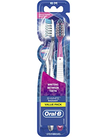 Oral-B 3D White Radiant Whitening Toothbrush 40 Medium 2 Count (Color May Vary