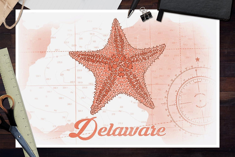 Starfish Coastal Icon Delaware Coral 36x54 Giclee Gallery Print, Wall Decor Travel Poster