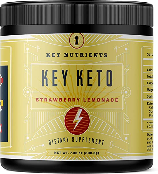 Exogenous Ketone Supplement, Key Keto: Patented BHB Salts (Beta-Hydroxybutyrate) - Formulated for Ketosis, to Burn Fat, Increase Energy and Focus, Supports a Keto Diet. Strawberry Lemonade (208g)