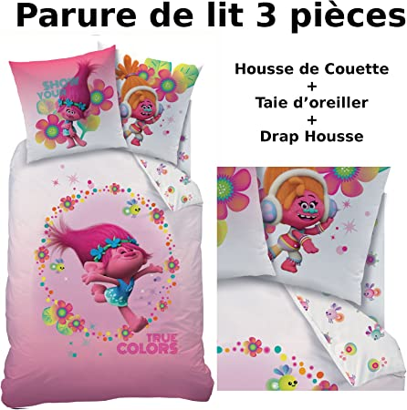Les Trolls Parure De Lit 3pcs 100 Coton Housse De Couette 140x200 Taie D Oreiller 63x63 Drap Housse 90x190