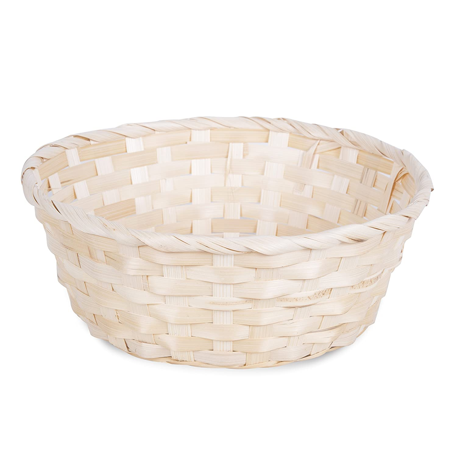 10 x Bamboo Wicker Bread Basket Storage Hamper Display Tray, Natural or Red (Medium-20cm, Natural) Basic House