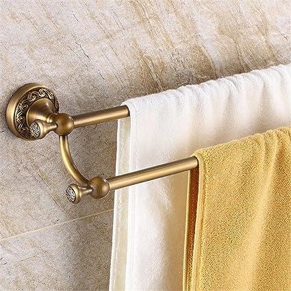 XXSZKAA Bathroom Accessories Wall Mounted Towel Bar Antique Towel Rack  European Style Retro Bathroom