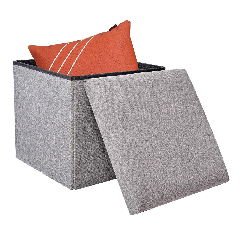 Folding Storage Bench Ottoman Linen Fabric Pouffe Footstool Seat Space-saving Cube Organizer Foldaway Storage Box Chest Light Gray (38x38x38cm) Newbee