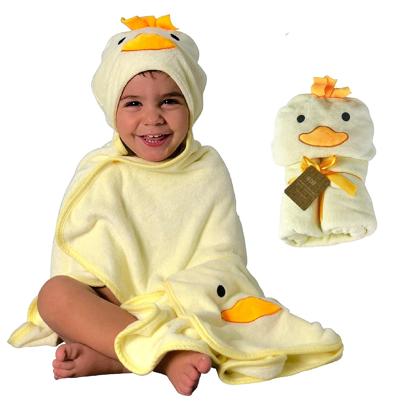 Asciugamano per pulcino HECKBO 3D + panno per il lavaggio gratuito 0 - 6 anni | Novità: 2 bottoni a pressione per una chiusura flessibile | 100% bambù | Dimensioni: 100x90cm | Asciugamano da bagno con cappuccio per ragazzi e ragazze | Accappa