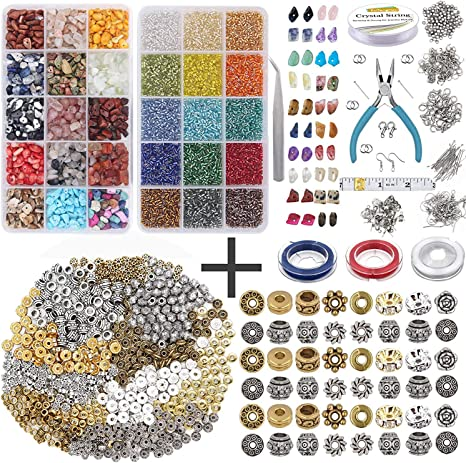 EuTengHao 7030Pcs Irregular Chips Stone Beads Natural Gemstone Beads and Glass Bugle Seed Beads Kit with Elastic String Plier Lobster Clasps Jump Ring for DIY Bracelet Necklaces Earring Jewelry Making