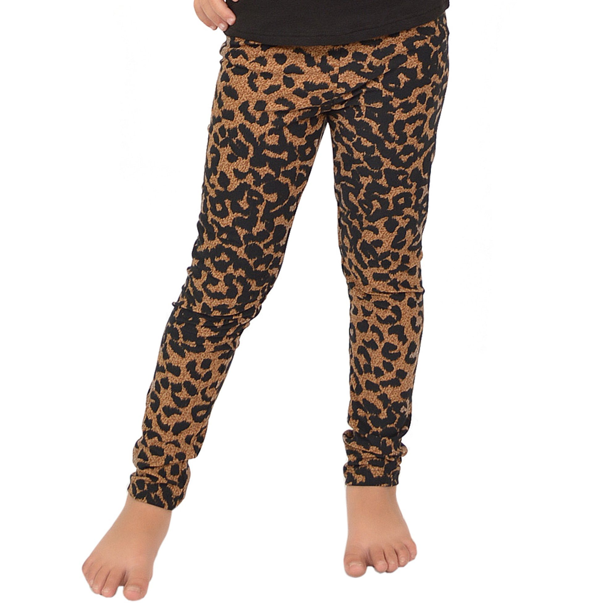 Stretch is Comfort Girl's Leggings Brown Cheetah Small