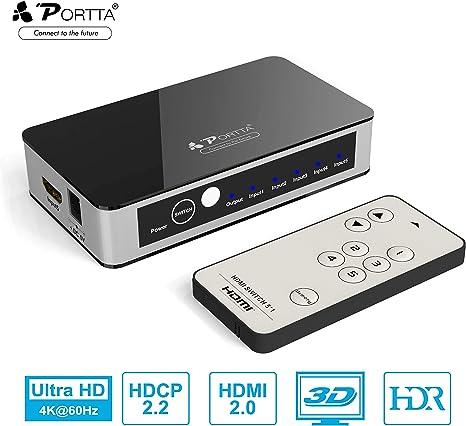 Portta HDMI Switch 4K 60Hz 5x1 Conmutador HDMI 2.0a/b | HDCP2.2/1.4 |