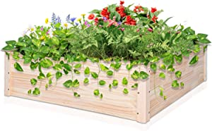 EAGLE PEAK Raised Garden Bed, Outdoor Wooden Planter Box for Flowers, Herbs, Plants, Fruits and Vegetables in Patio, Terrace, Backyard, 40'' x 40'' x 12'' , Natural