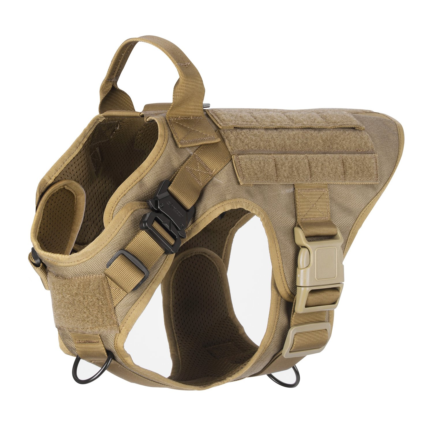 ICEFANG Dog Harness Medium Breed,Tactical Molle Dog Vest,No Pull Front Clip,Unbreakable Quick Release Metal Buckle Snap-proof (M 25''-30'' Girth), CB-Molle Half Body