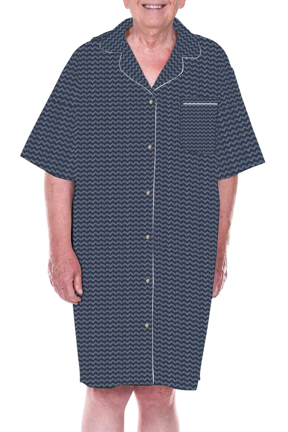 DIGNITY PAJAMAS Mens Cotton Short Sleeve Adaptive Open Back Hospice Patient Gown Sleepwear-Navy White Zigzag (S/M)