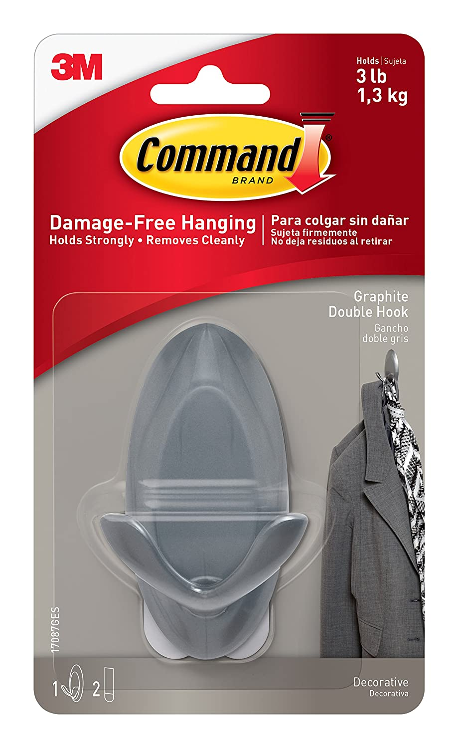 Command Graphite Double Hooks, 1-Hook, 4-Pack 17087G
