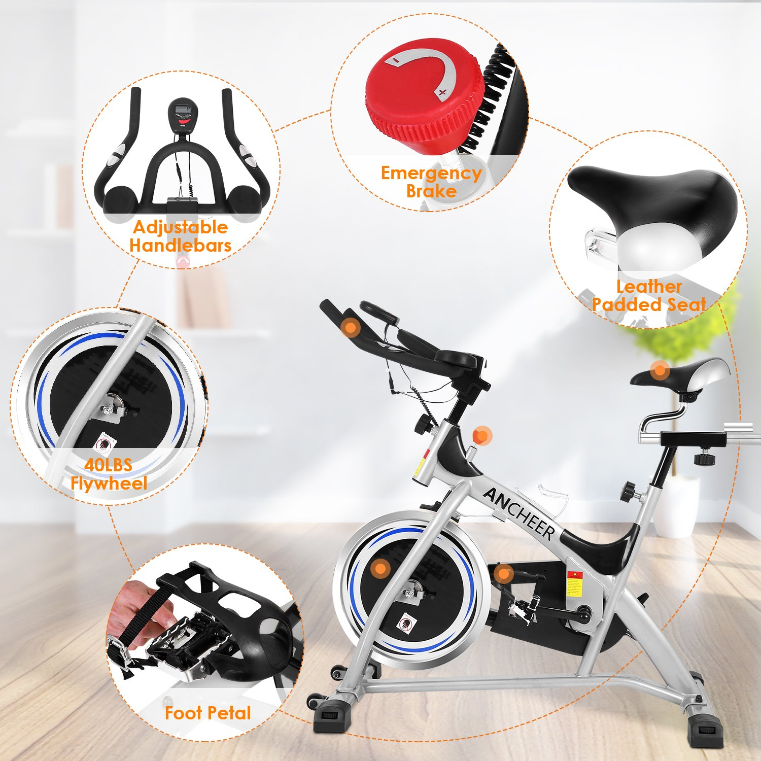 ANCHEER Stationary Bike, 40 LBS Flywheel Belt Drive Indoor Cycling Exercise Bike with Pulse, Elbow Tray (Model: ANCHEER-A5001) (Sliver) by ANCHEER (Image #6)